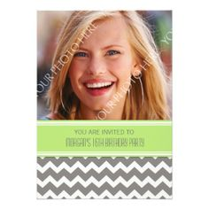 Lime Gray Photo 16th Birthday Party Invitations