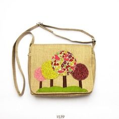 Sac a main besace lin liberty forêt poppy and daisy collection hiver