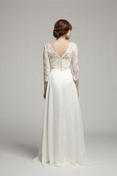 Ava Dress ~ Back view ~ Melanie Potro Bridal Couture 2014 Collection Bridal Gowns, Wedding Dresses, French Lace, Exclusive Collection, Dress Backs, Bridal Collection, Ava, Corset, Bodice
