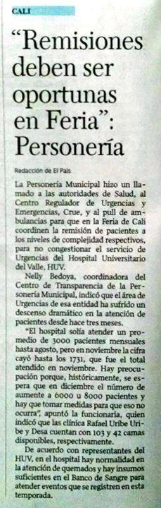 [Prensa - El País Cali]  Remisiones deben ser oportunas en Feria: Personería