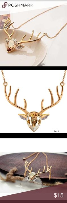 Gold Deer Boho Style Statement Stone Necklace Gold- Deer- Adjustable Chain- Boho Style- New Boutique Item haus of vintage 1984 Jewelry Necklaces