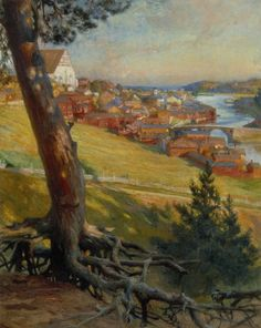 View from Linnanmaki, Porvoo 1892 - Porvoo Linnanmäeltä 1892, ALBERT GUSTAF ARISTIDES EDELFELT (1854-1905)