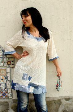 Vaqueros de verano L-XL suéter appliqued boho hippie por jamfashion