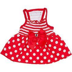 Petco Pup Crew Red Dot & Stripe Smocked Dog Dress