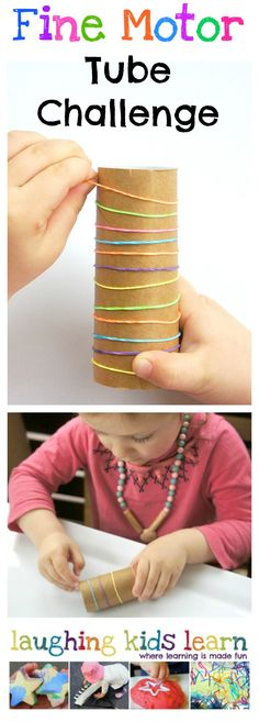 Fine motor cardboard tube challenge for kids - Laughing Kids Learn A simple and easy way to work on fine motor skills with toddlers- a cardboard tube and rubber bands is all you need! Fine Motor Activities For Kids, Motor Skills Activities, Gross Motor Skills, Preschool Learning, Sensory Activities, Preschool Activities, Toddler Preschool, Teaching, Therapy Activities