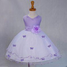 La muchacha de flor lila blanco mariposas tul por ekidsbridalusa