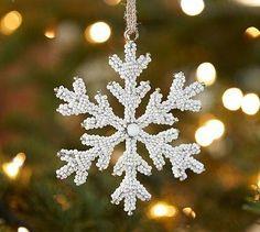 White Beaded Snowflake Ornament