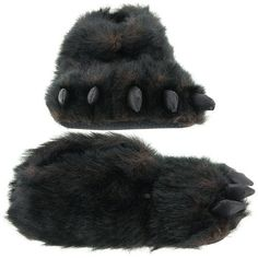 Fuzzy Black Bear Paw Slippers for Men and Women ♥