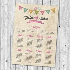 Personalised Wedding Stationery Table Plan - Poems - Menus - Place Cards & More