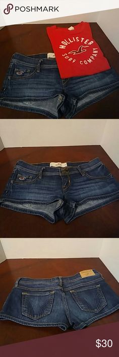 Hollister outfit! 2 piece Hollister outfit. Red t-shirt size small. Blue denim short shorts size 1 or w25. Hollister Shorts Jean Shorts