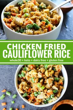 This Chicken Fried Cauliflower Rice is a lightened up version of a classic fried rice. So flavorful and hearty! Plus its gluten free, dairy free, and Whole30!