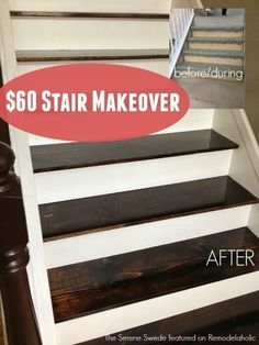 Removing carpet from stairs and replacing it with wood stair treads is totally doable. This DIY staircase makeover was accomplished in a weekend and looks like a professional job! Proof that a staircase remodel can be a DIY job. Redo Stairs, Basement Stairs, Stairs Upgrade, Basement Ideas, Basement Kitchen, Kitchen Wood, Paint Stairs, Basement Flooring, Kitchen Ideas