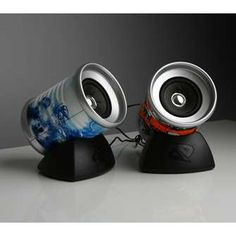 Speakers made from tin cans.