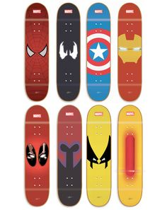 Marvel Skateboard decks Spiderman, Venom, Captain America, Iron Man, Deadpool, Magneto, Wolverine, & Cyclops