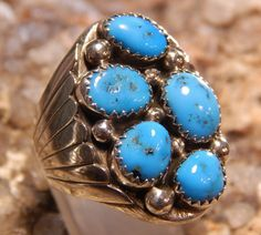 Native American Man's Turquoise Ring by fatcatantique on Etsy