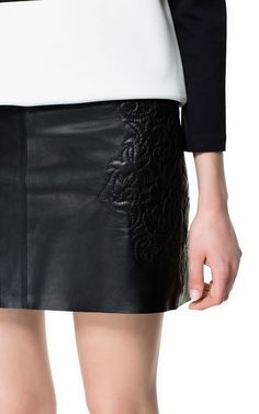 Image 5 of EMBROIDERED LEATHER SKIRT from Zara