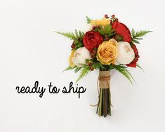 Your place to buy and sell all things handmade Rustic Bridal Bouquets, Silk Bridal Bouquet, Silk Wedding Bouquets, Fall Bouquets, Fall Wedding Flowers, Fall Flowers, Bridesmaid Bouquet, Wedding Ceremony Script, Wedding Table Names