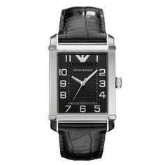 Emporio Armani Mens AR0362 Classic Black Dial and Strap Watch
