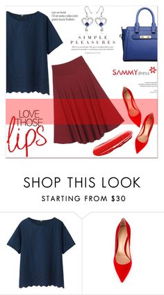 """Sammydresses"" by janee-oss ❤ liked on Polyvore featuring Uniqlo, Gianvito Rossi and Louis Vuitton"