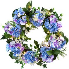 """Improvements Hydrangea Pre-Lit Wreath-20"""" (39 CAD) ❤ liked on Polyvore featuring home, home decor, floral decor, flowers, fillers, decor, plants, backgrounds, magazine and phrase"""