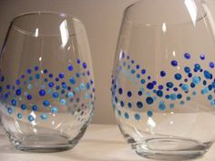blue ombre polka dot stemless wine glasses - perfect for a beach wedding on Etsy, $25.00