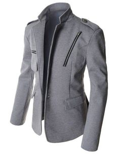Man's Slim Fit 1 Button Zipper Patch Casual Blazer at Ama Mens Fashion Suits, Fashion Wear, Fashion Outfits, Casual Blazer, Casual Outfits, Moda Formal, Men's Coats And Jackets, Smart Casual, Men Casual