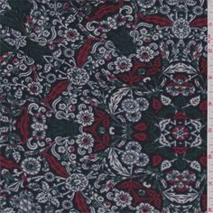 Dark blue, hunter green, cranberry red and ivory floral baroque medallion print. A medium weight premium polyester knit fabric with a smooth hand. Good stretch and recovery.Compare to $12.00/yd