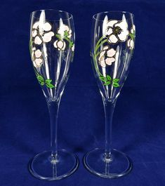 Decorative Arts Antiques Lovely 2 Mid Century Style Champagne Flute Infused With Cobalt Blue Rounded Oval Stem