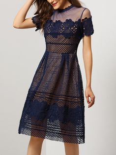 Blue Short Sleeve Sheer Mesh Hollow Dress 51.84