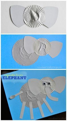 Elephant Kids Craft made out of cupcake liners. Great alphabet craft for the letter E or for a zoo theme. from iheartcraftythings.com