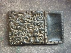 Chinese antique collection of the nobles old jade kirin ink stone carvingPT88