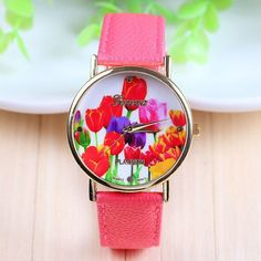 Roses for her leather trendy watch