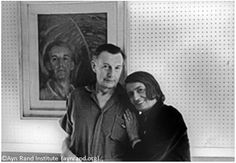 Ayn Rand with her husband in their New York City apartment, with Leonebel Jacob's portrait of Frank O'Connor in the background.