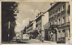 Basler Hof Freiburg - Schönes Bild der Basler Straße auf Höhe der Gaststätte Basler Hof. Aufnahmedatum dürfte etwa in den 1940er Jahren liegen. Vielen Dank an die Sammlung Oehler.   /*  */