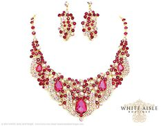 Fuchsia Bridal Statement Necklace Chunky by WhiteAisleBoutique