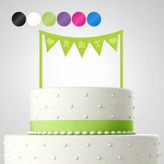 Cake Topper Tortendekoration Acryl 'Girlande' personalisiert mit Monogrammen