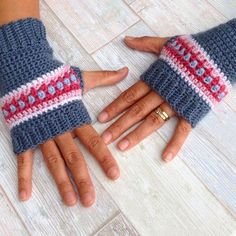 Love Crochet Pattern – Nordic Wrist Warmers – Crochet Fingerless Gloves Pattern – US and UK terms and Swedish Mode Crochet, Crochet Diy, Basic Crochet Stitches, Crochet Patterns, Crochet Doilies, Knitting Patterns, Knitting Tutorials, Hat Patterns, Crochet Granny