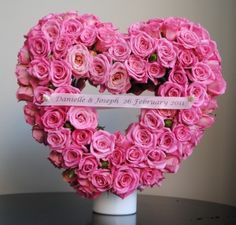 Heart Shaped table display by wedding florist Lovely Bridal Blooms. Centrepiece Ideas, Centerpieces, Spray Roses, Gift Table, Reception Decorations, Heart Shapes, Beautiful Flowers, Wedding Flowers, Floral Wreath
