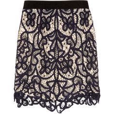 3.1 Phillip Lim Hand-embroidered hairpin-lace mini skirt (870 BRL) ❤ liked on Polyvore featuring skirts, mini skirts, bottoms, saias, gonne, women, scalloped mini skirt, short skirts, 3.1 phillip lim and scallop edge skirt