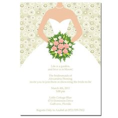 Bride with Bouquet Bridal Shower Invitation by ThenComesPaper, $29.90