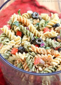 Feta and Vegetable Rotini Salad - an easy and tasty pasta salad that's great for potlucks! the-girl-who-ate-everything.com