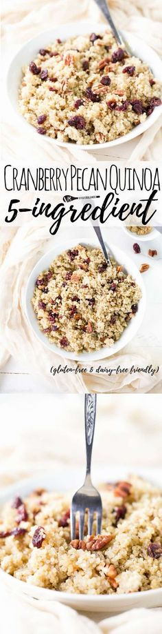 Cranberry Pecan Brown Sugar Quinoa is the dessert-like side dish you've been waiting for. whip this up and devour for a happy day. (gluten-free, low-sugar, vegan & dairy-free friendly) Can't wait to try this for breakfast! Quinoa Gluten Free, Gluten Free Scones, Gluten Free Recipes For Breakfast, Best Gluten Free Recipes, Allergy Free Recipes, Gluten Free Breakfasts, Easy Recipes, Vegan Recipes, Easy Meals