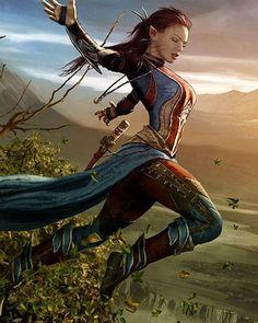 Wood elf, drawing and character inspiration Fantasy Warrior, Fantasy Girl, 3d Fantasy, Fantasy Kunst, Fantasy Women, Medieval Fantasy, Fantasy Artwork, Elf Warrior, Woman Warrior