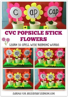 CVC Popsicle Stick Flowers to help beginner readers learn to spell with Rhyming Words. Bright and pretty flowers make learning so much more fun! Holiday Crafts For Kids, Craft Projects For Kids, Crafts For Kids To Make, Craft Ideas, Craft Tutorials, Spring Activities, Activities For Kids, Learning Activities, Preschool Ideas