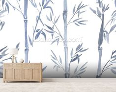 Bamboo Leaves Watercolour wall mural room setting