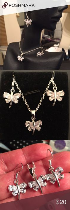 925 sterling silver set Silver 925 set and cubic zirconia dragonfly pendant/ hooks earrings   Chain 18in Jewelry Necklaces