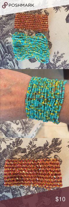 Cute Orange and turquoise sparkle cuffs Cute for summer selling both orange and turquoise cuff stretchy cuff bracelets. Jewelry Bracelets