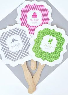 """Need a way to keep your loved ones cool at your upcoming outdoor wedding? Our MOD Personalized Theme Paddle Fans will keep your guests cool and comfortable while adding a touch of modern details to your event. Choose the appropriate color palette to complement your wedding theme and highlight your chic style. Dress them up with a little bit of ribbon or decorative twine and you've got a fashionable party favor your guests will rave over! Features and Facts:  Size: 6.5"""" X 7"""" for the card;"""