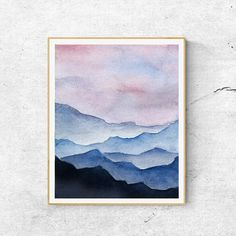 Fine Art Print Contemporary Art Watercolor  Mountain