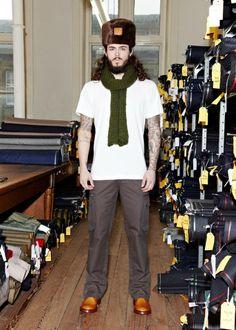 LOOK 12   COSSACK HAT - GVAW14604999860 - HAZELNUT BROWN  CHUNKY KNIT SCARF - GVAW14602400Y580 - MOSS GREEN  CREW NECK T-SHIRT - GVAW14503520210 - IVORY  CARGO PANT - GVAW14401240560 - KHAKI GREEN #guiltyvine #menswear #fashion